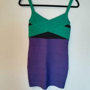 bebe Bandage Color Block Knit Dress Size S
